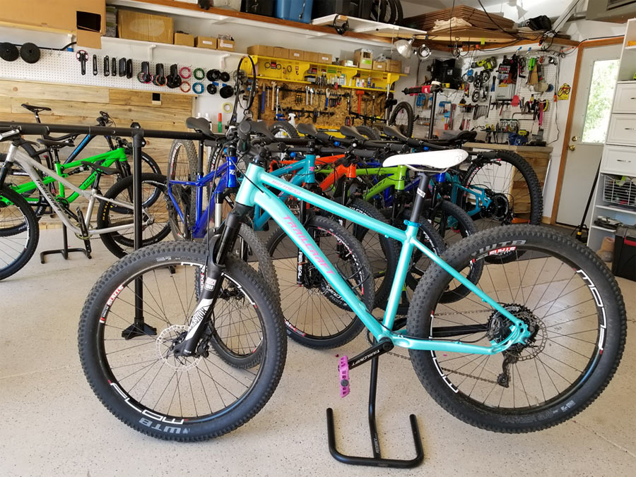 This Trailcraft Cycles Big Mesa 26+ hardtail belongs to Ginger, and can convert to 27.5 wheels and tires