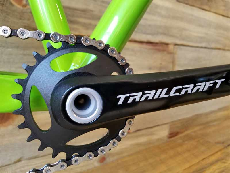 trailcraft kids mountain bike cranksets offer short arms with direct mount narrow wide chainrings for youth