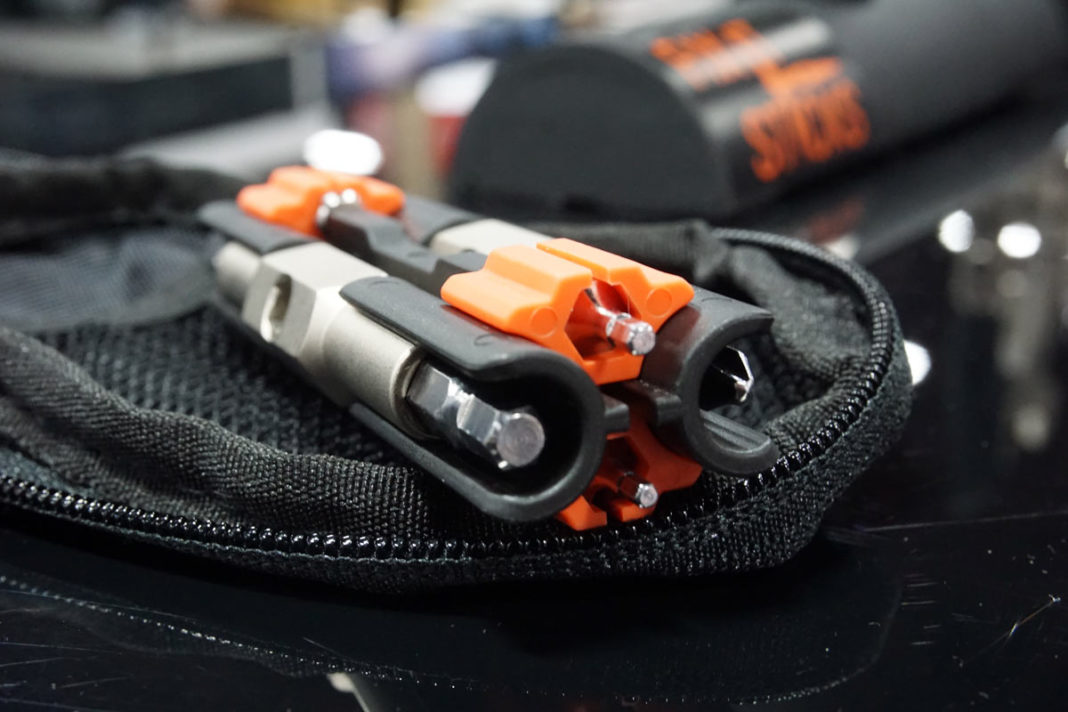 Fixit Sticks Multi-Tool pouch with chain breaker tool fits into a cycling jersey pocket with room to spare