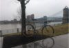 bikerumor pic of the day cycling in rainy Cincinnati, Ohio.
