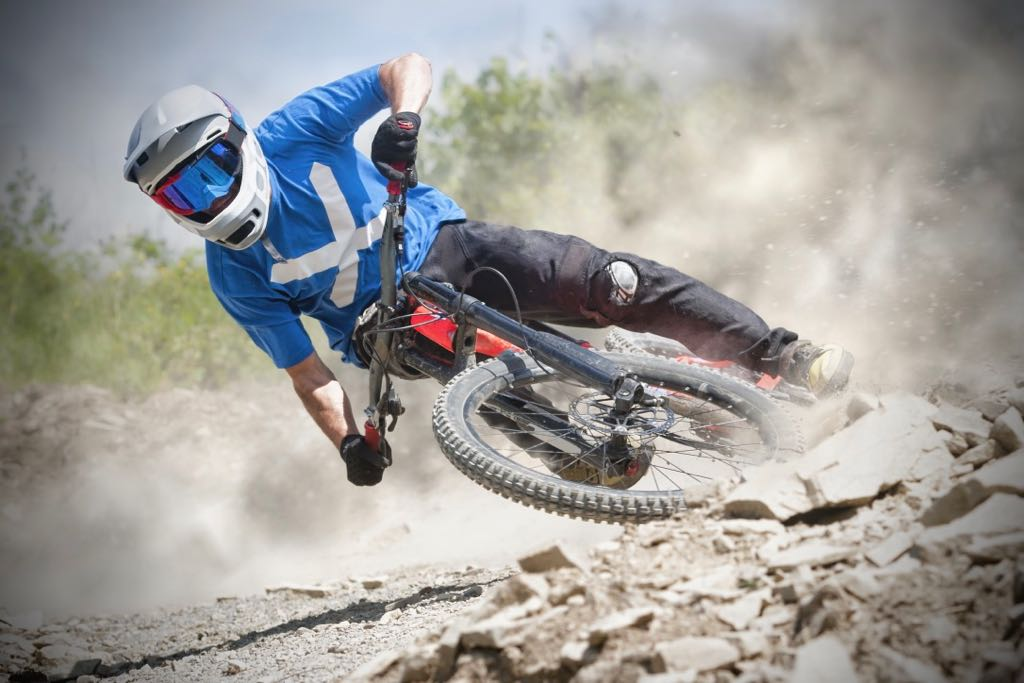 Pushing limits is the cause of most mountain bike crashes.