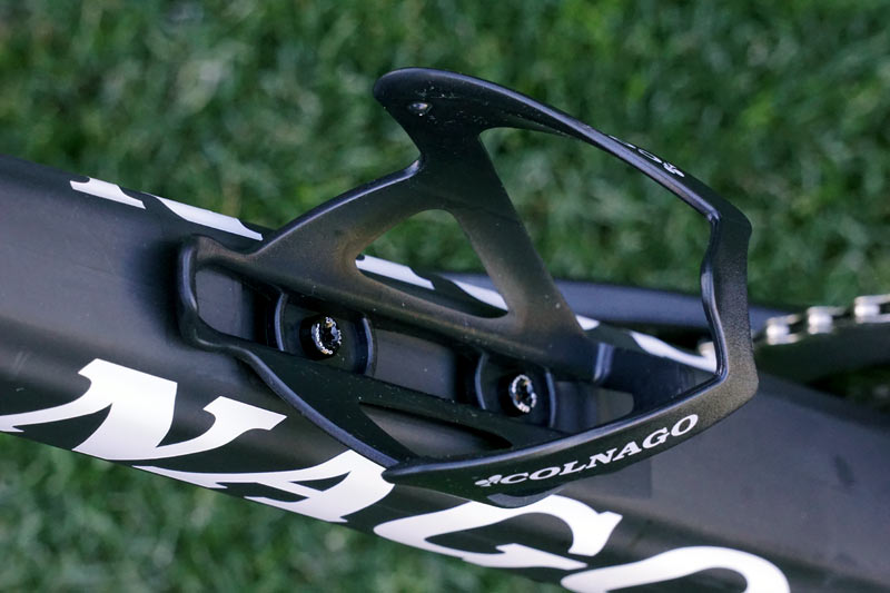 2018 Colnago C64 lightweight carbon road race bike has a recessed water bottle cage mount