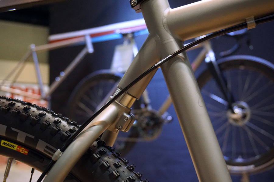 prototype moots softail gravel road bike with short travel rear suspension