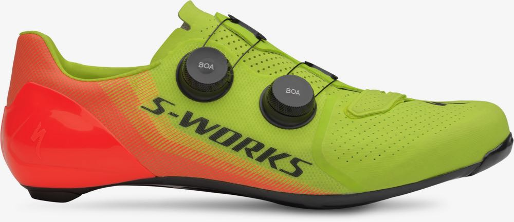 The new S-Works 7 road shoe has more toe room and a lighter sole than before.