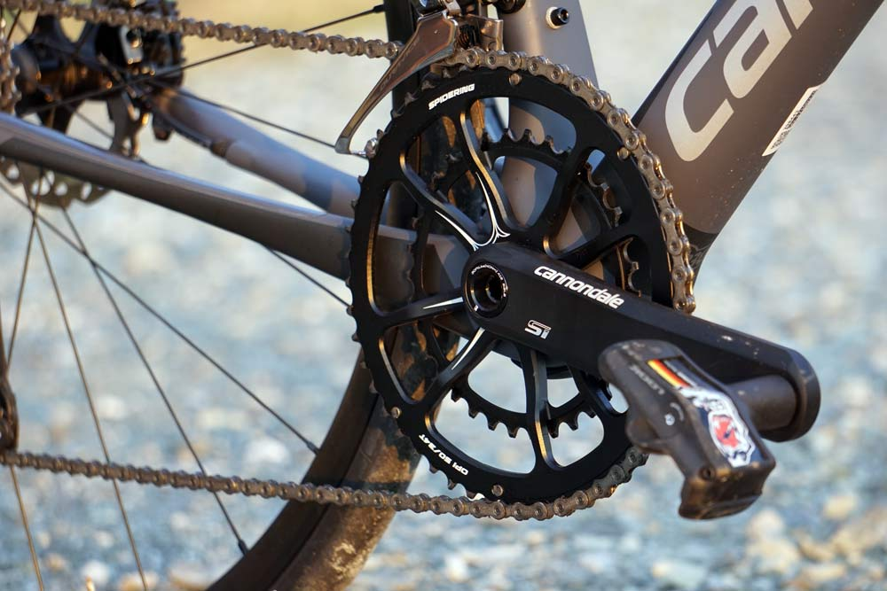 2018 Cannondale Synapse Carbon Disc brake endurance road bike with one-piece SpideRing chainring crankset combo