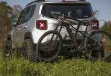 avid essentials lexicon rear bumper with integrated hidden rear bicycle rack that folds into the bumper