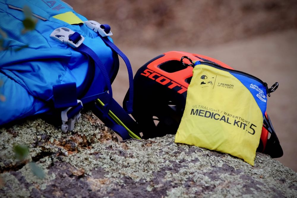 Trailside first aid is important to know when you travel far in the woods on your bike.
