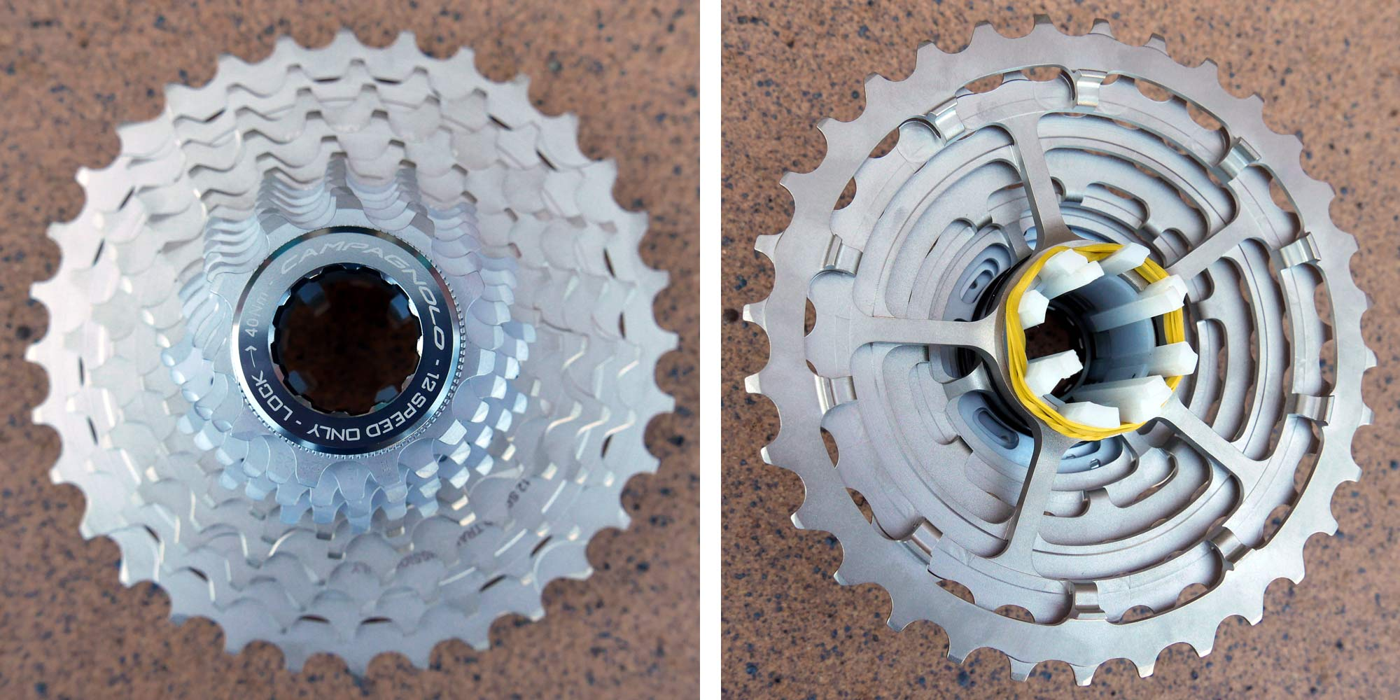 Campagnolo Record Movement 12 tightly-spaced steel 12-speed cassette road bike groupset twelve-speed front & back details