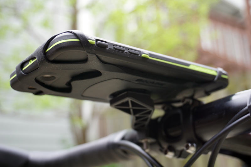 best way to mount your smartphone on your handlebar is with a universal mount like the BiKase TrailKase