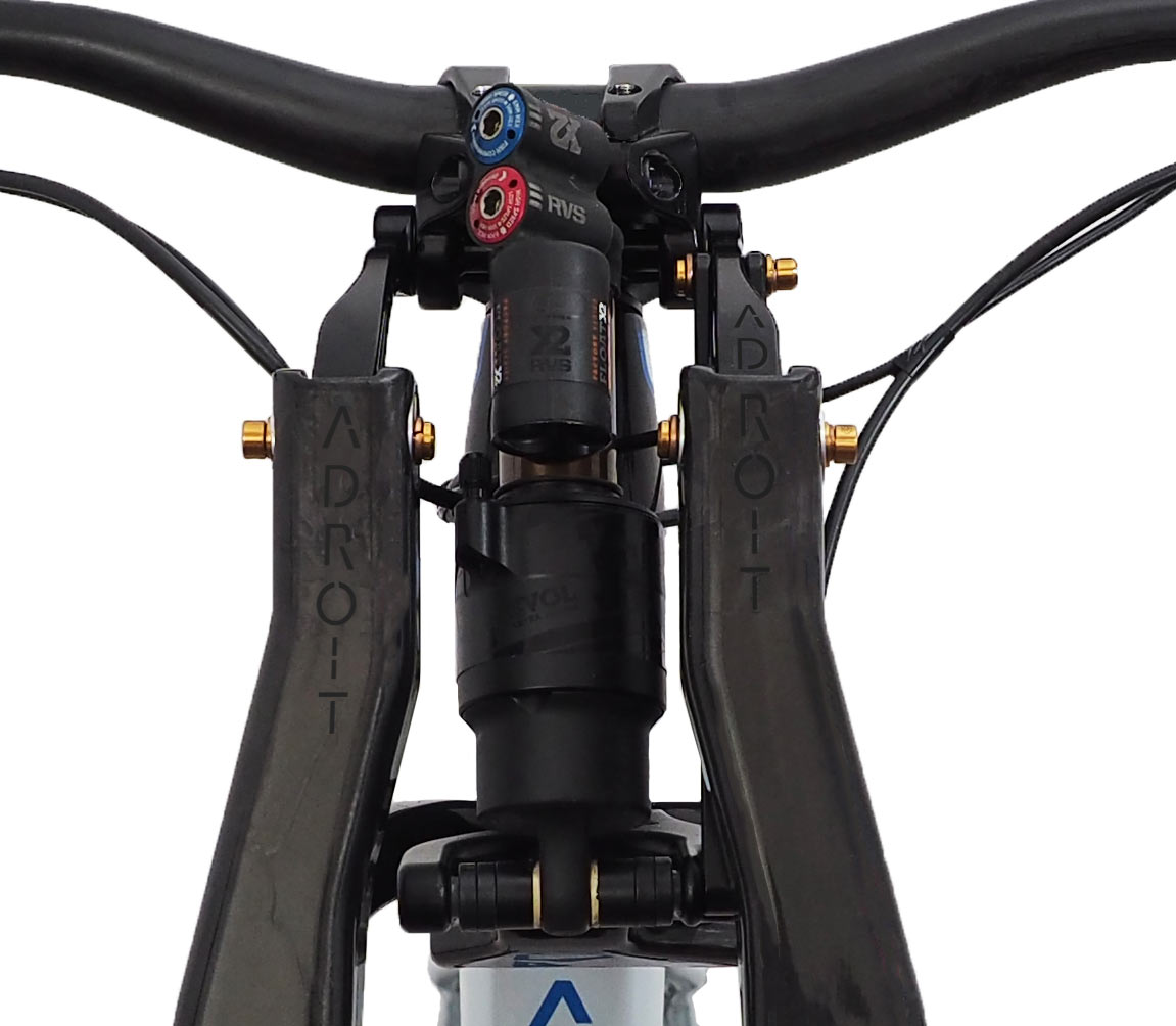 Adroit Cycleworks Linkage Fork uses a rear shock and parallelogram arms to give you less stiction friction and more tuning options for long travel trail and enduro mountain biking