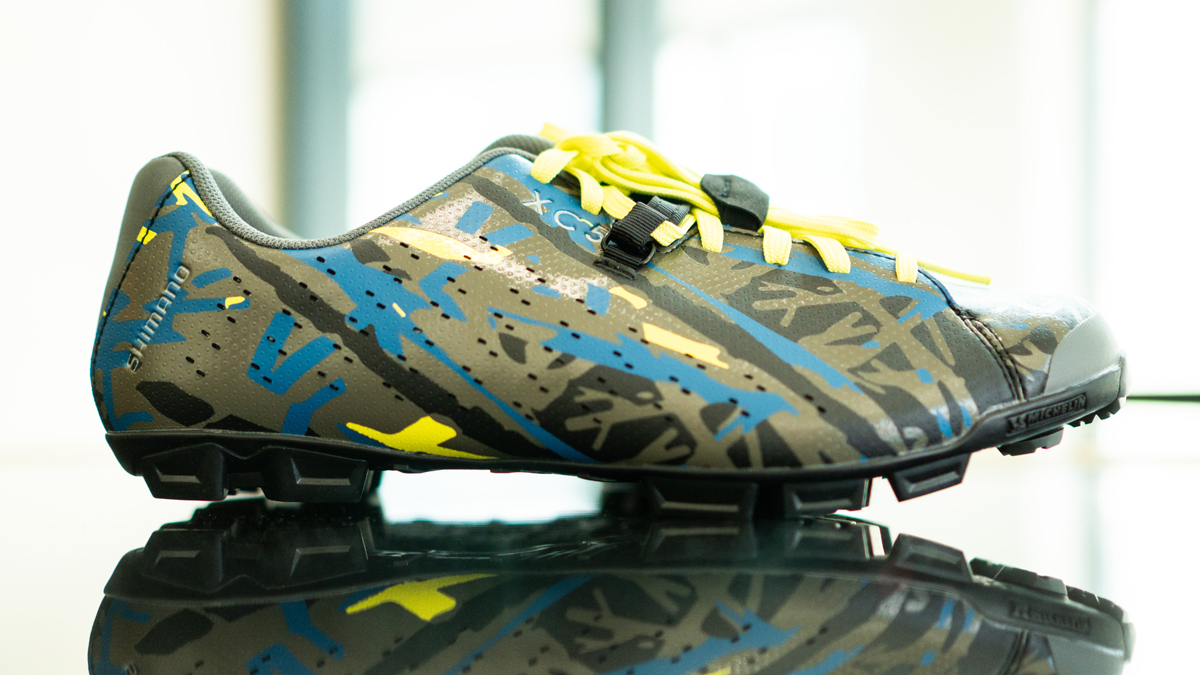 Limited Edition Camo Shimano XC5 Gravel shoes available exclusively through IBDs