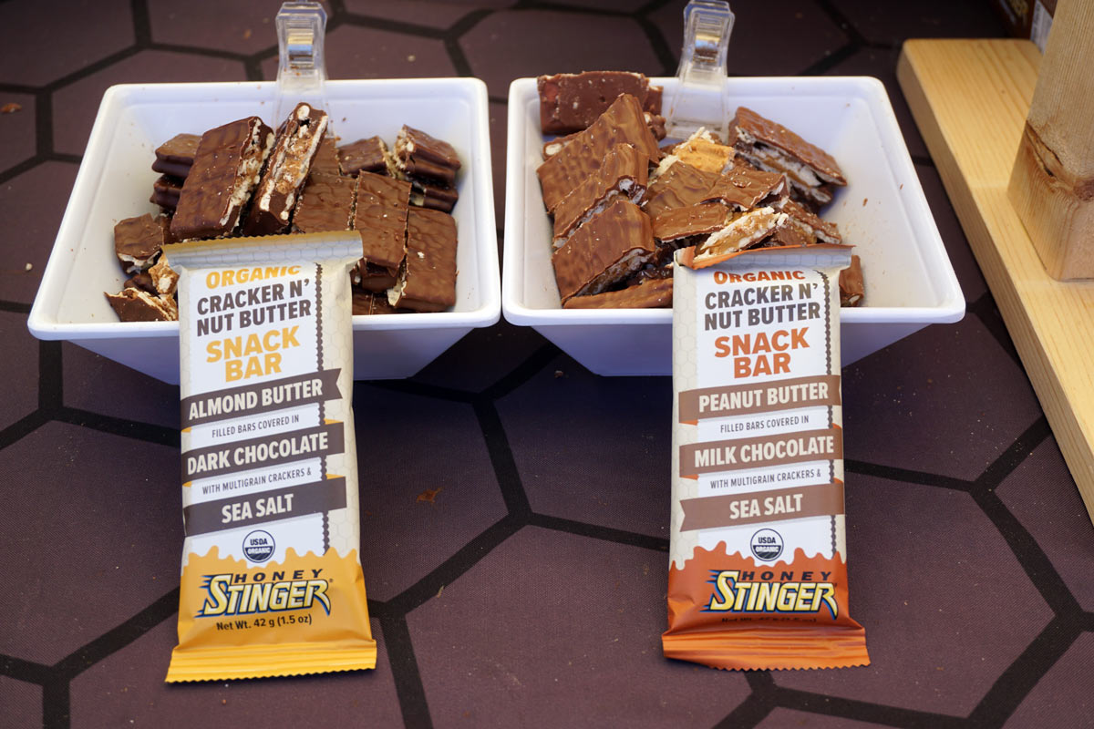 honey stinger cracker and nut butter filled energy snack with chocolate coating