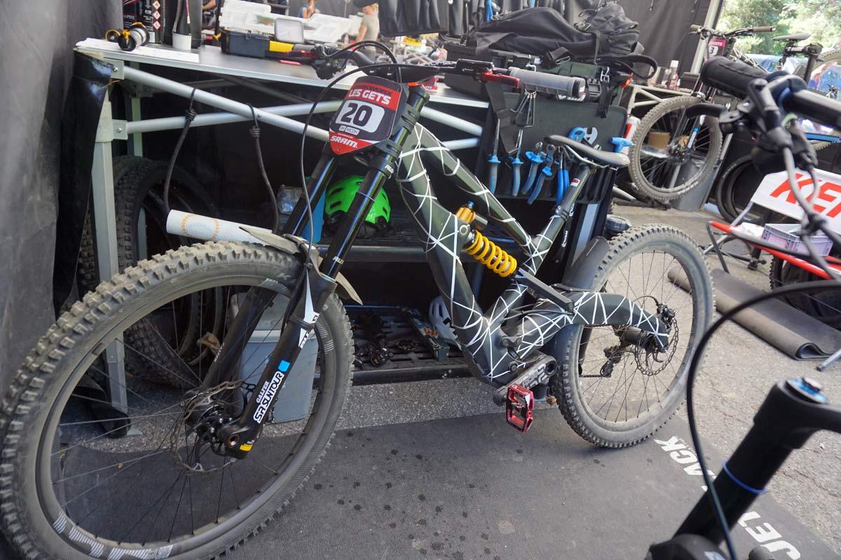 prototype polygon downhill mountain bike with NAILD R3ACT 2play suspension design found at 2018 crankworx les gets