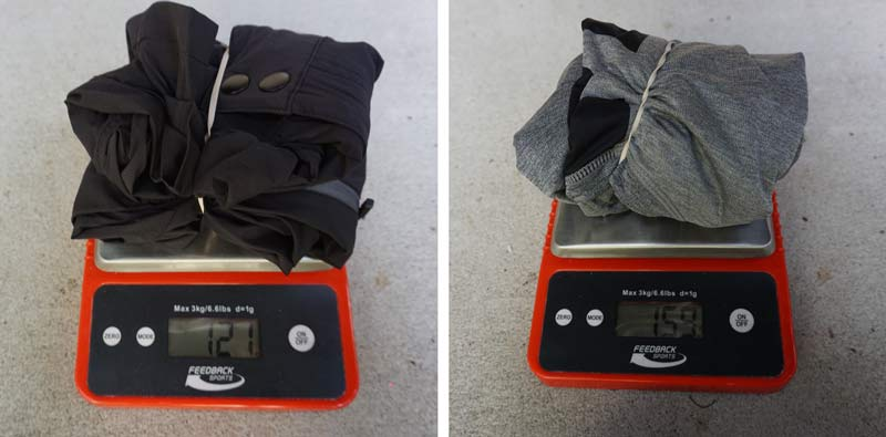 how much does an xc mountain bike clothing kit weigh