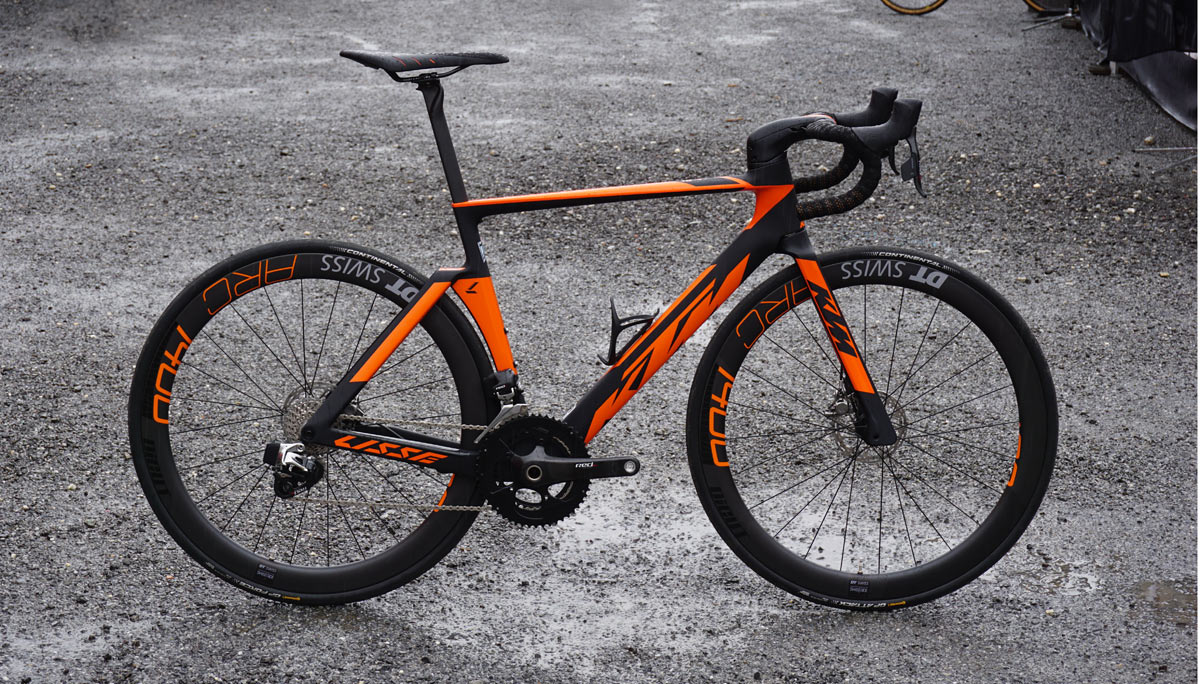 2019 KTM Lisse aero road bike with disc brakes and integrated front end cockpit that hides the cables in the stem