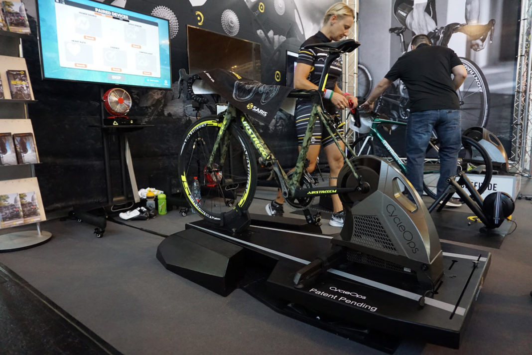 prototype cycleops floating trainer platform that rocks and sways under you while riding