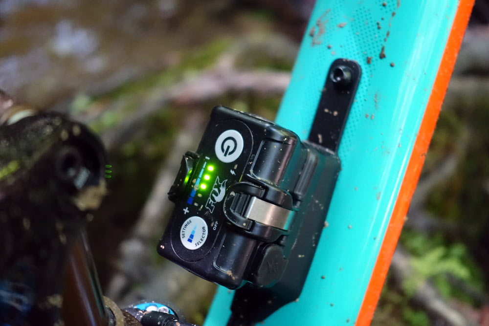 The Fox Live Valve battery contains all of the electronics and the incline and fall sensors