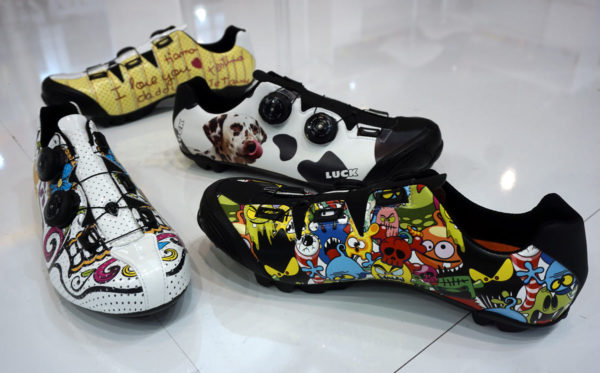 luck galaxy road and mountain bike shoes with custom graphics lets you design your own cycling shoes