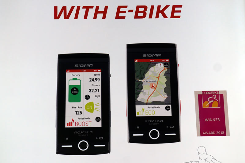 sigma rox 12 is the biggest full color gps cycling computer on the market with e-bike controls and range display to show how far you can ride and how much battery power is left