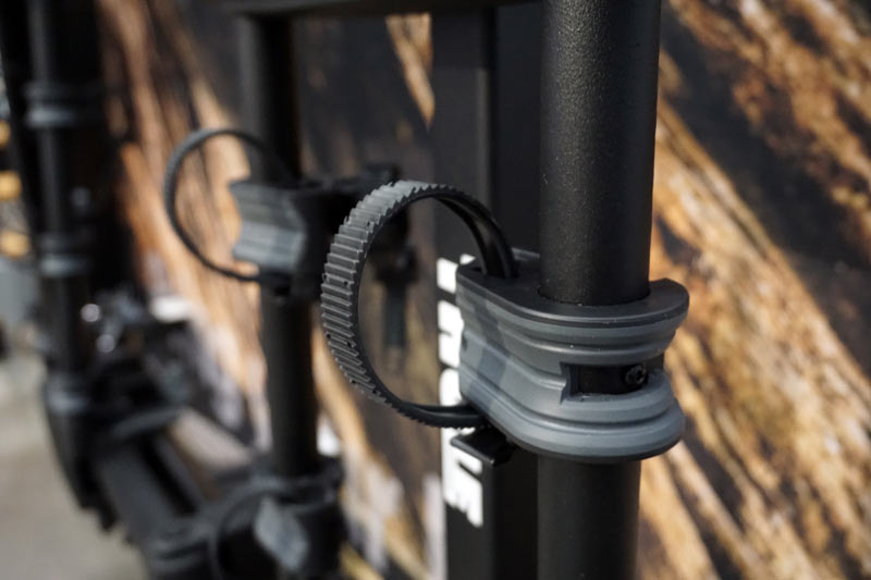2019 Thule Helium Pro and Apex hanging style hitch mount bike racks have softer pads and ratchet straps to keep your bike safe