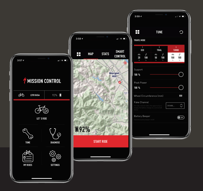 specialized mission control app ebike customization screens