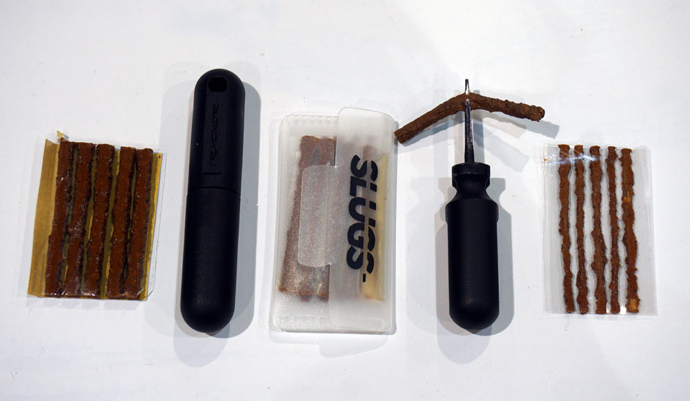 Ryders Slug Plug fixes mountain bike tire punctures quickly and easily with a complete kit for ten dollars