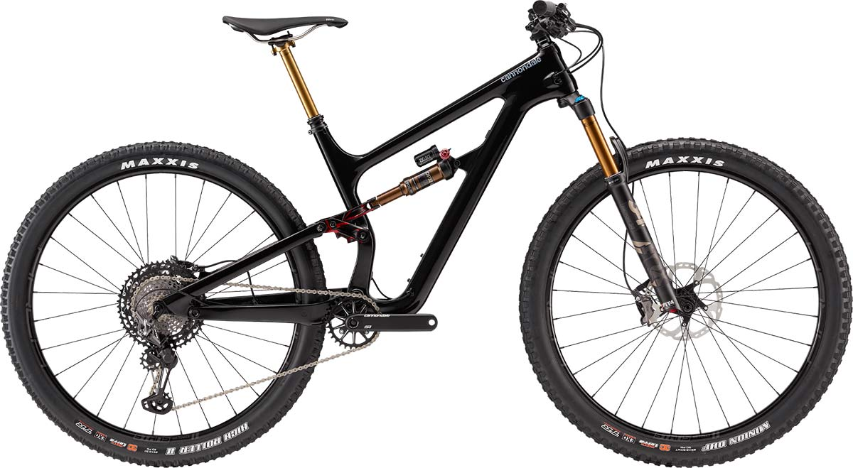 Top of the range model Cannondale Habit for 2019 - the Carbon 1, with a full complement of Kashima-coated Fox Suspension