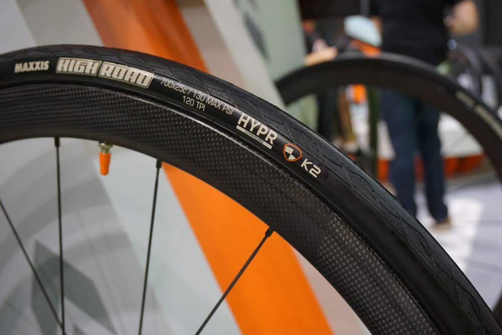 Maxxis High Road pro road bike tire with lightweight tube-type casing and grippy wet weather rubber compound