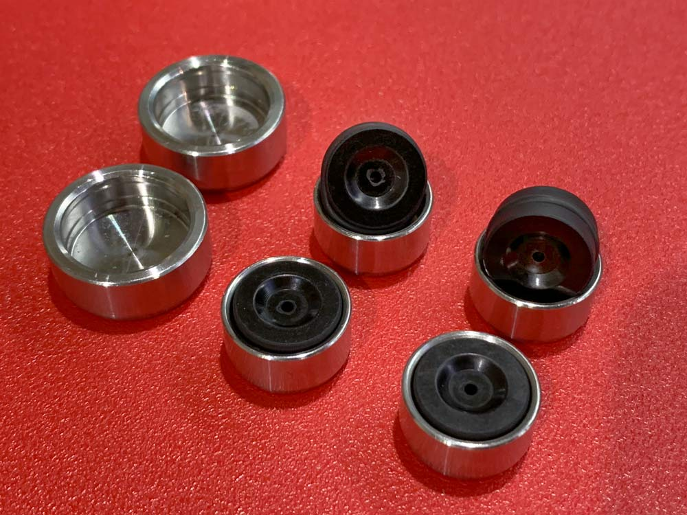 TRP hybrid brake pistons use a combination of materials to improve heat resistance