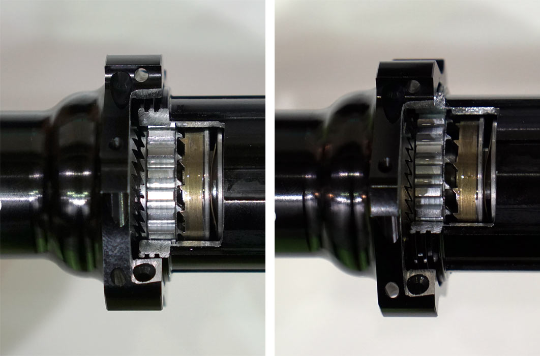 foss zero drag hubs are perfectly quiet when coasting because the ratchets aren't touching