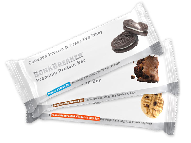 Bonk Breaker Protein Bar uses grass fed whey protein and collagen to help build muscles and ligaments skin and hair too
