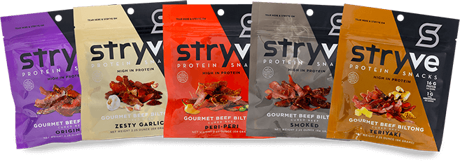 Stryve Biltong dried beef snack is healthier high protein alternative to beef jerky with low sugar and fat
