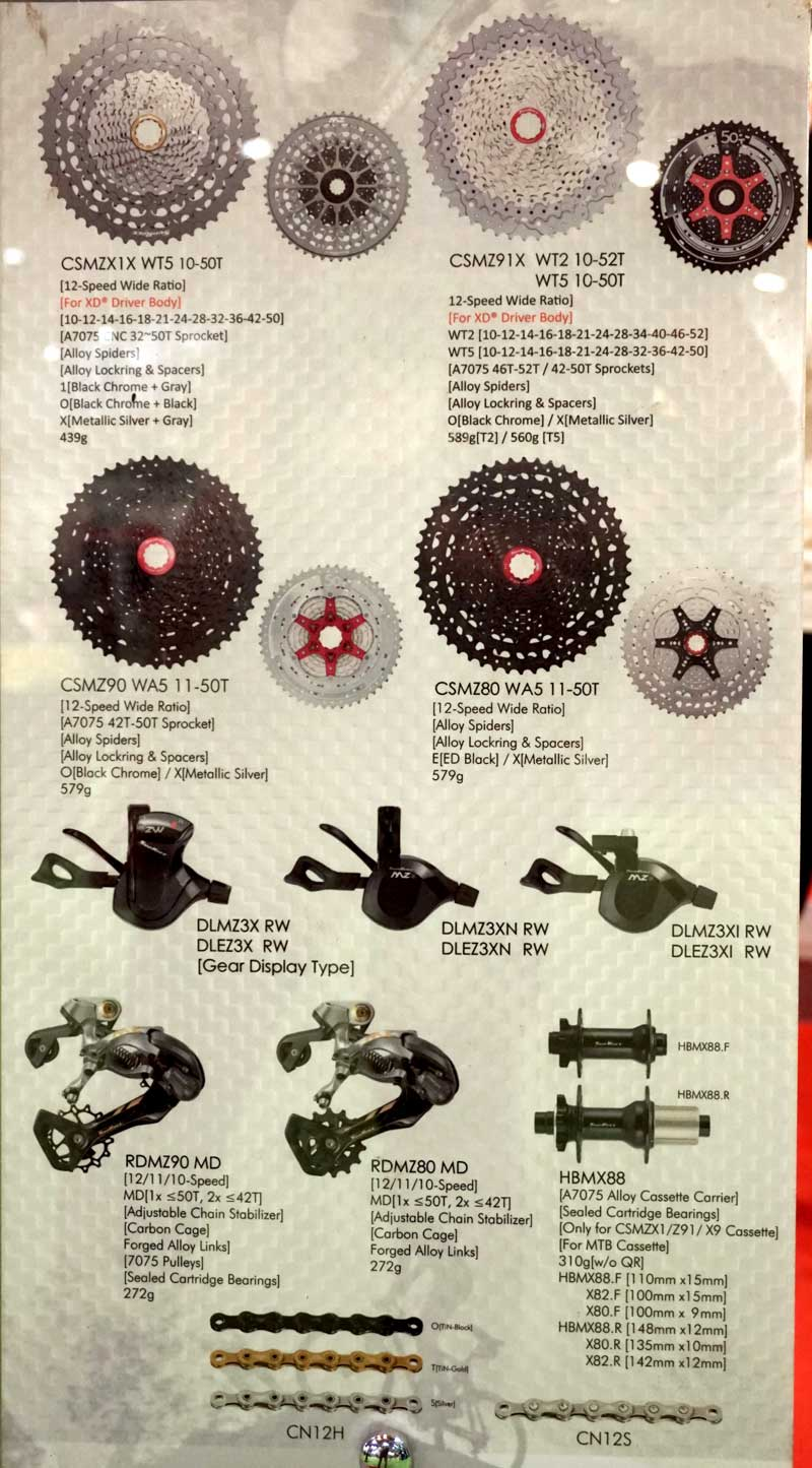 SunRace offers affordable lightweight 12-speed mountain bike groups with 10-52 wide range cassette