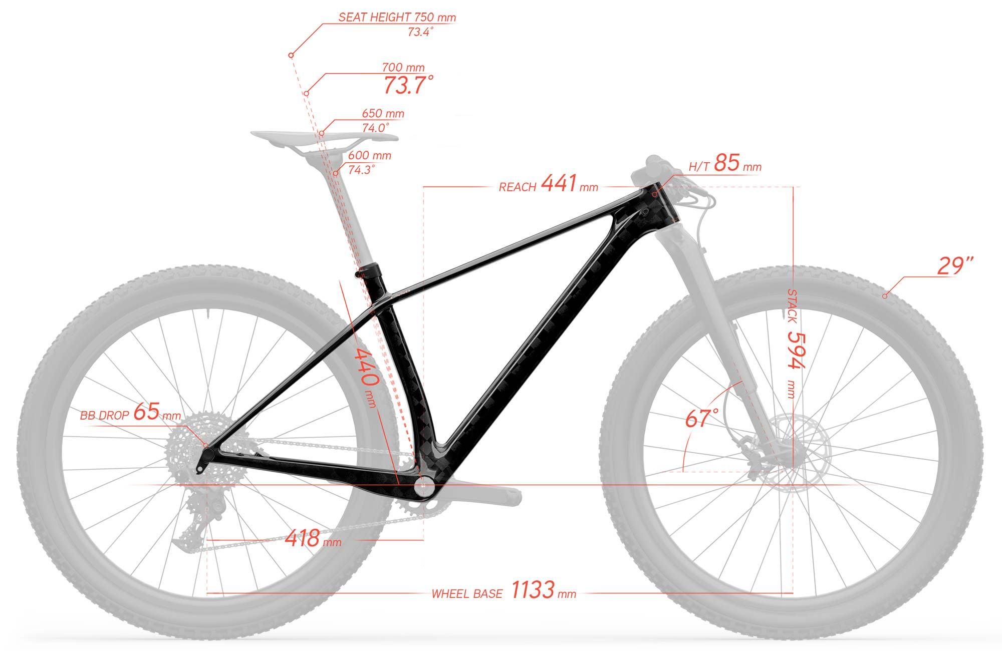 UNNO Aora ultra light carbon XC hardtail mountain bike World's Lightest XC hardtail mountain bike frame geometry