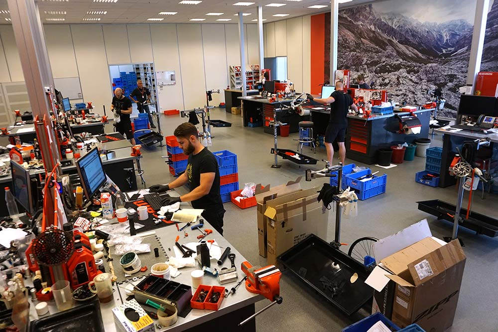 SRAM Schweinfurt Headquarters tour shows where they do drivetrain development plus European suspension and component dealer training service and warranty support