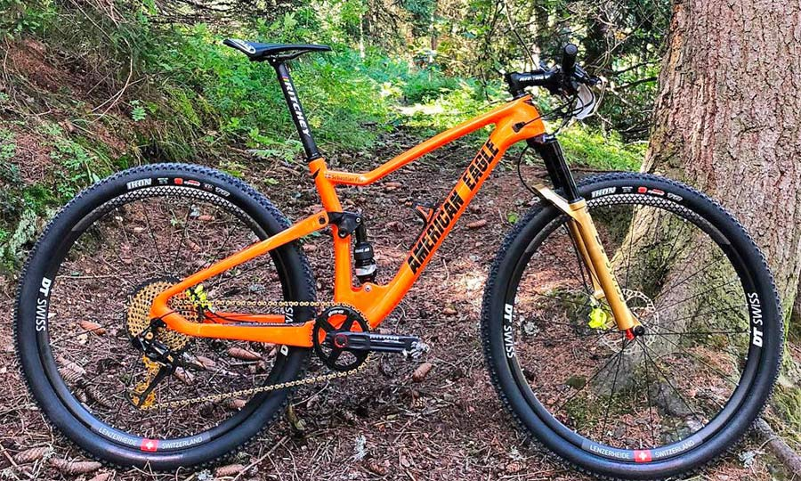 American Eagle carbon short travel full-suspension XC race cross-country mountain bike prototype