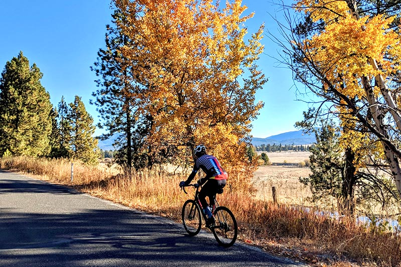 Road cyclist in Cascade Idaho on new trails and routes