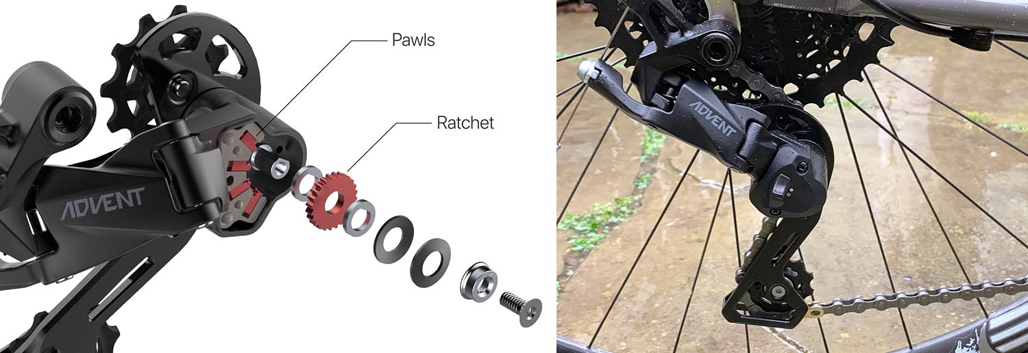 how does the microshift advent rear derailleur clutch work