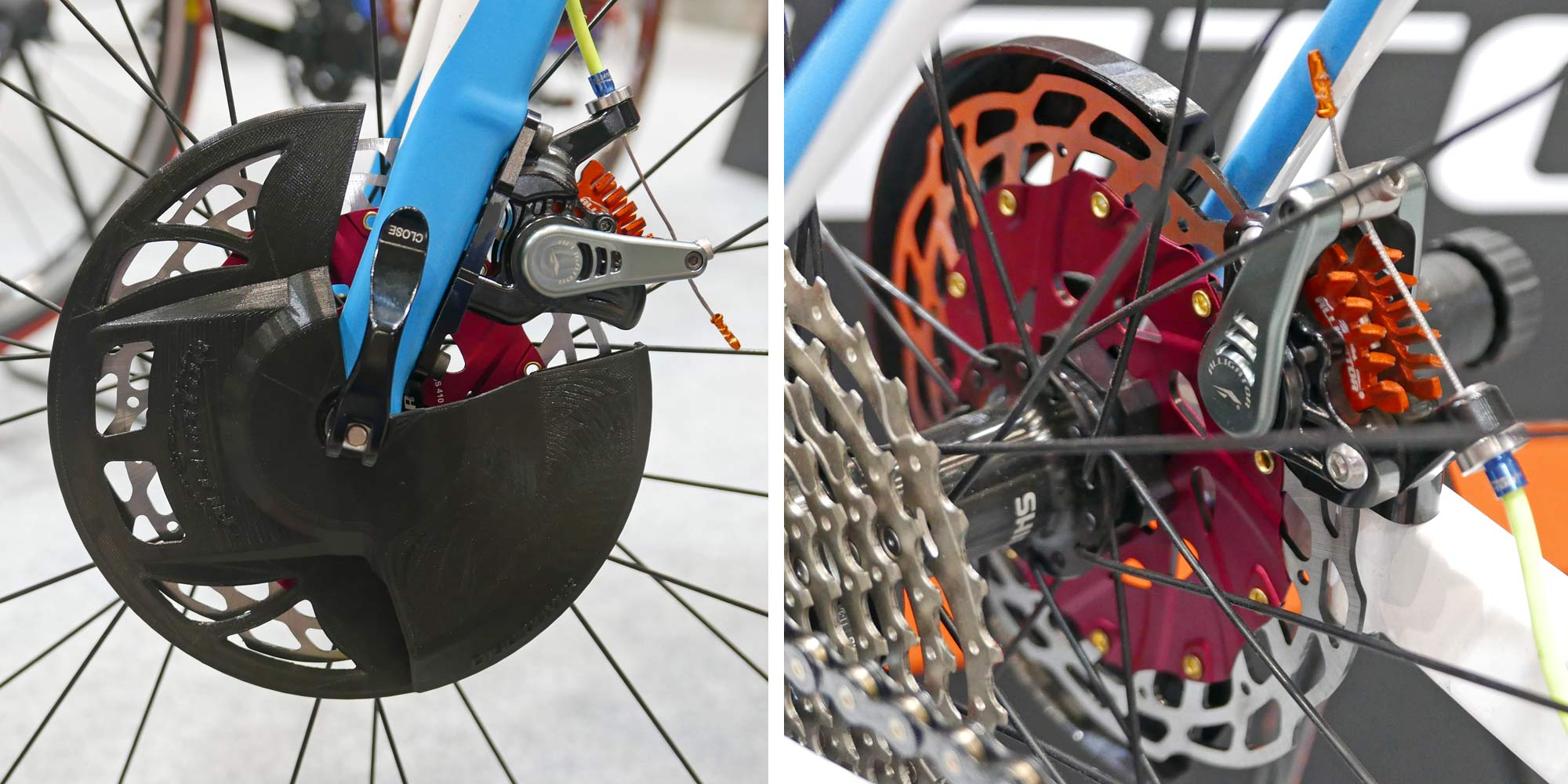 Alligator Disc Covers, prototype cooling rotor protectors, road bike disc brake rotor protective covers with integrated anti-overheating cooling