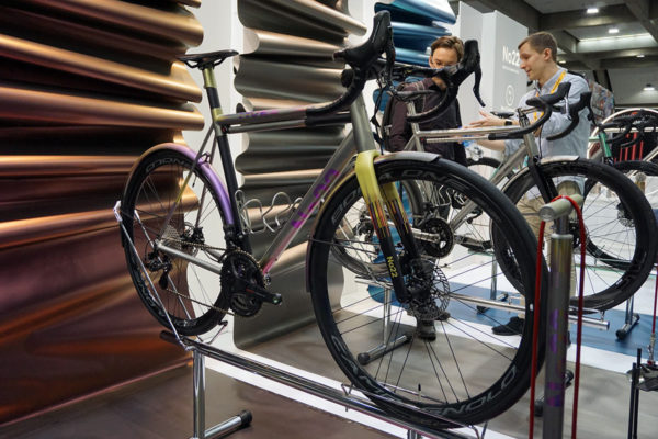 custom anodized and painted No22 Aurora all road bike for Best Campagnolo Bike contest at NAHBS 2019