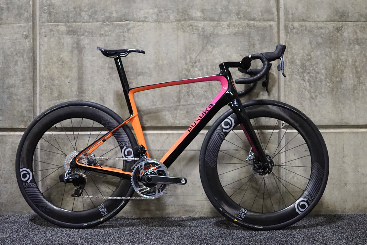 pushka carbon fiber road bikes with custom stems and seat posts and paint from Triton Bikes in Russia