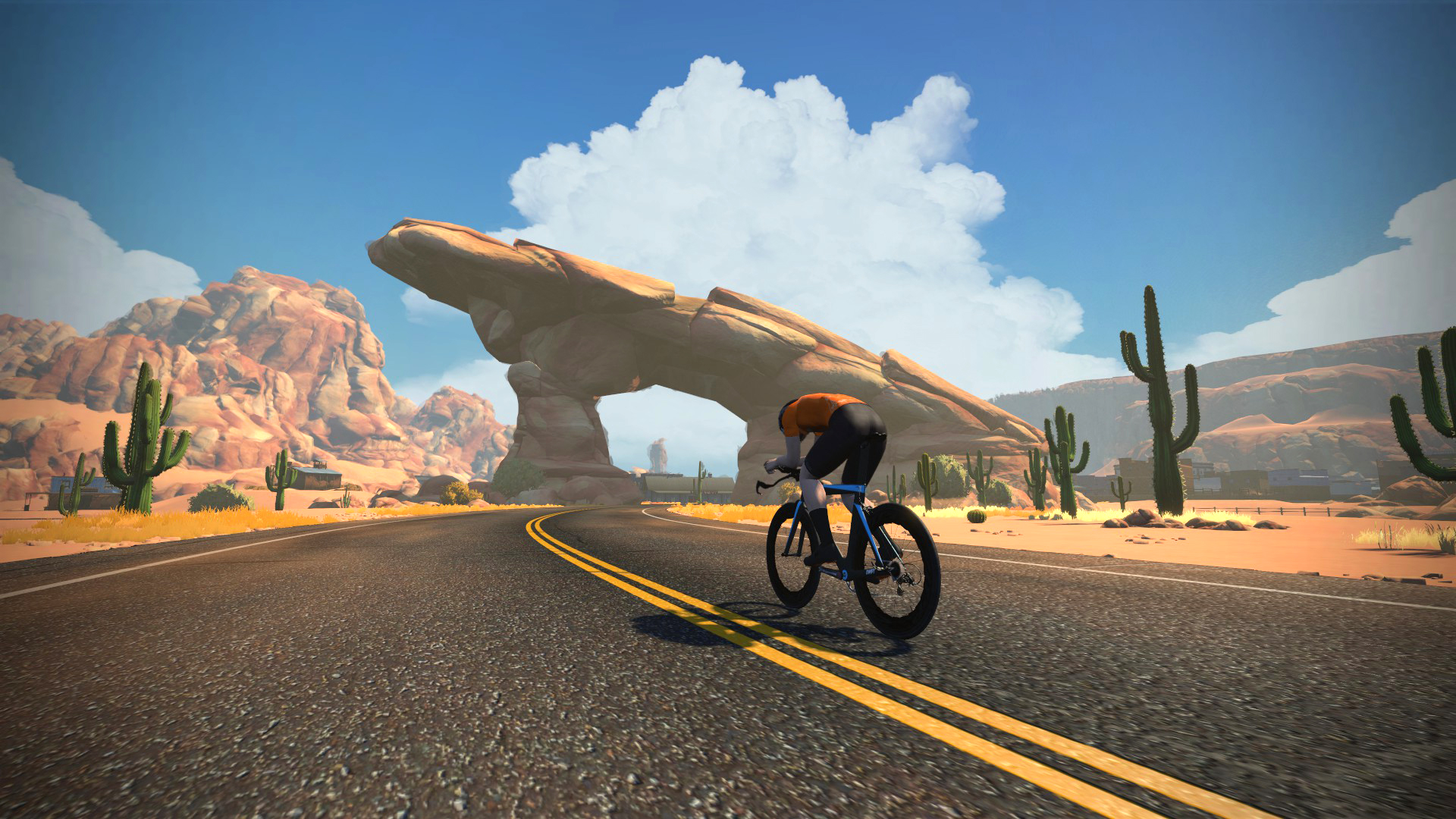 Zwift through the desert with Watopia Fuego Flats expansion route