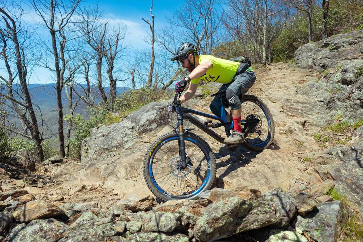 bikerumor pic of the day mountain biking on pilot rock trail in piegan national forest in north carolina.