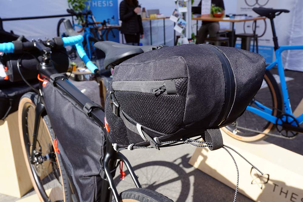 prototype Post Carry frame bags with hidden water bottle compartments and clever zipper layout for bikepacking