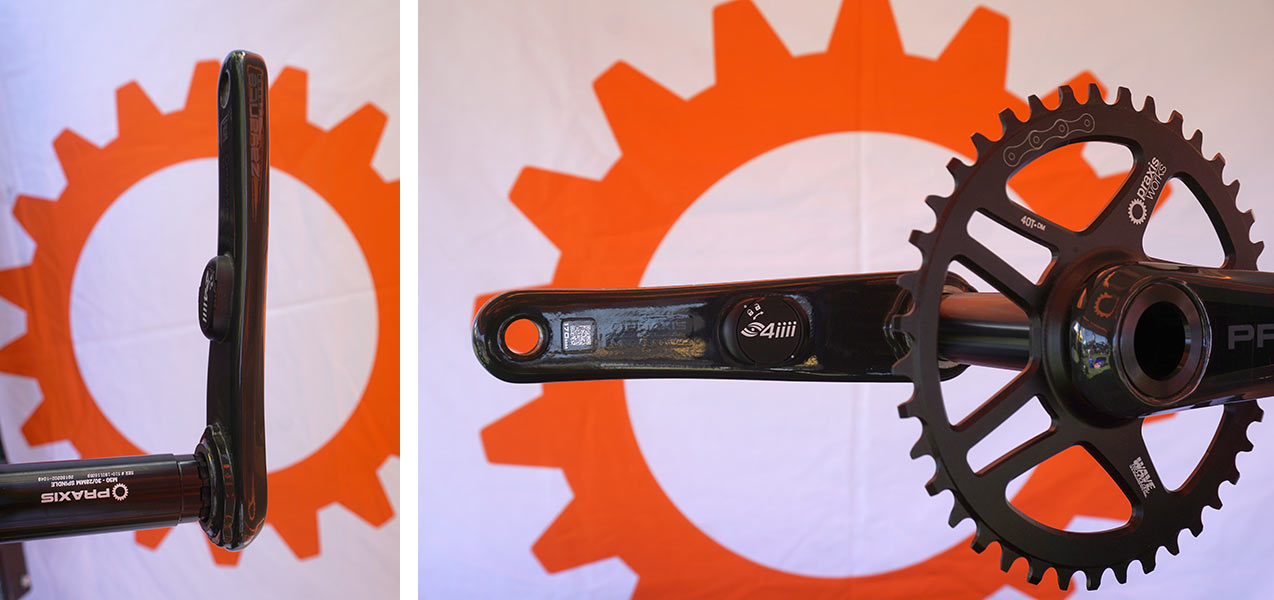 Praxis adds 4iiii power meter on Zayante carbon cranks for road gravel and cyclocross bikes