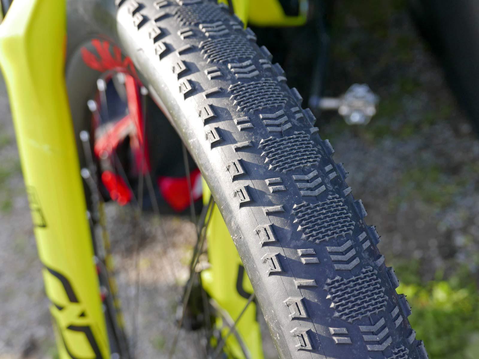 "Maxxis prototype Aspen Race semi-slick XC race tires, lightweight, fast-rolling, wide 2.4"" high-volume cross-country mountain bike tires, World Champion Nino Schurter"