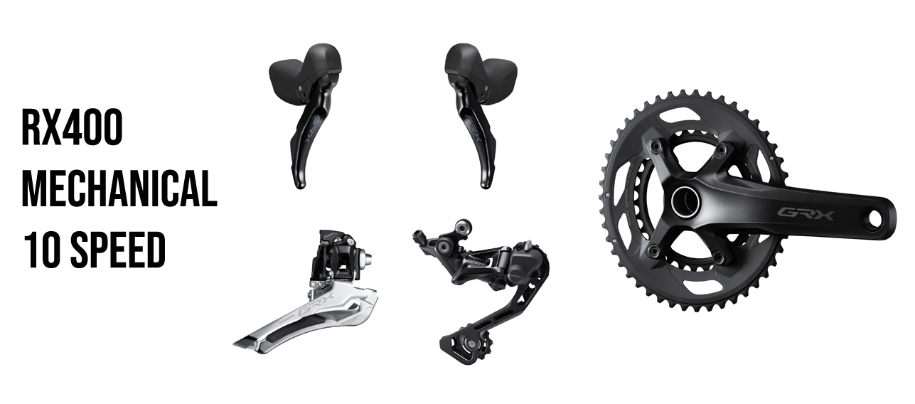 Shimano GRX is the first component group dedicated to gravel with 10 and 11 speed options for both mechanical and di2 shifting with hydraulic brakes.