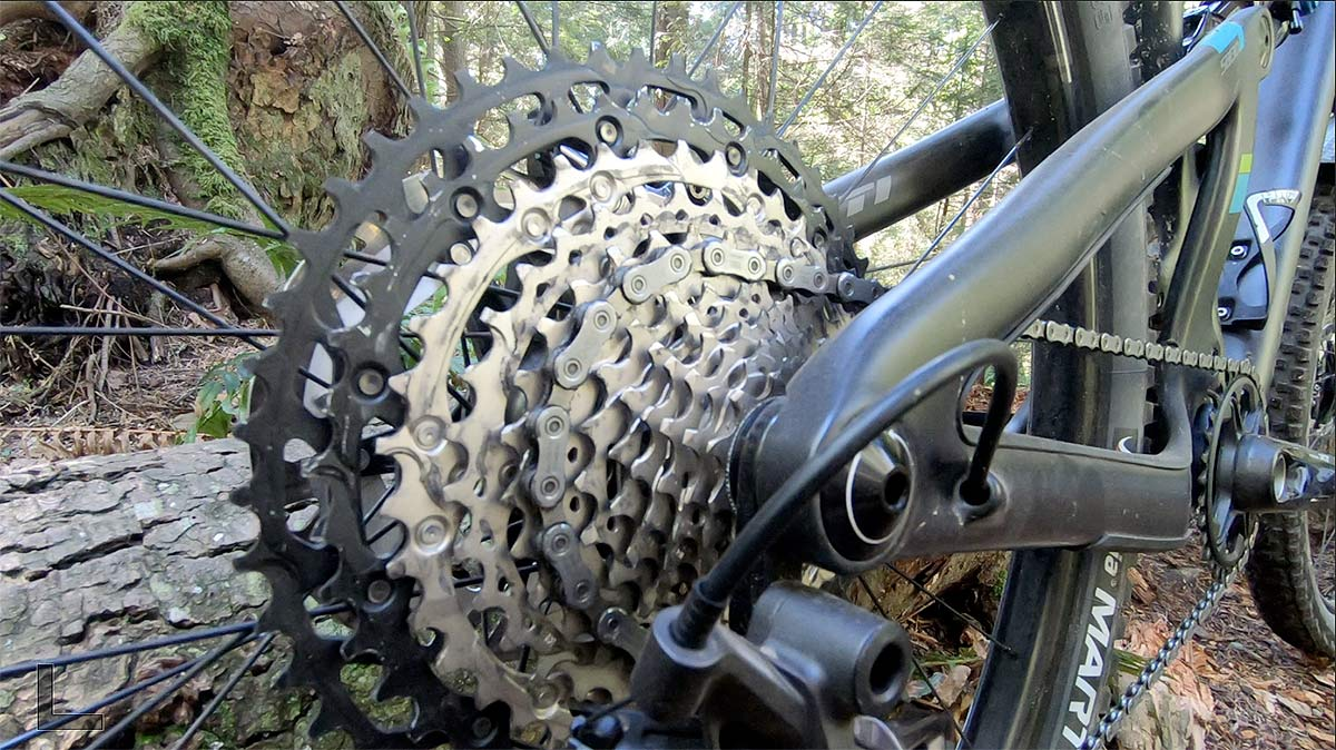 closeup details of new shimano xt m8100 12-speed cassette