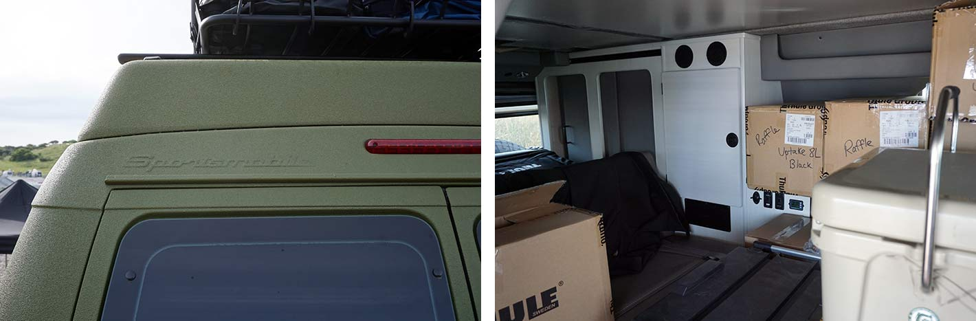 is there a way to stabilize a collapsible ladder when climbing on top of a van or RV