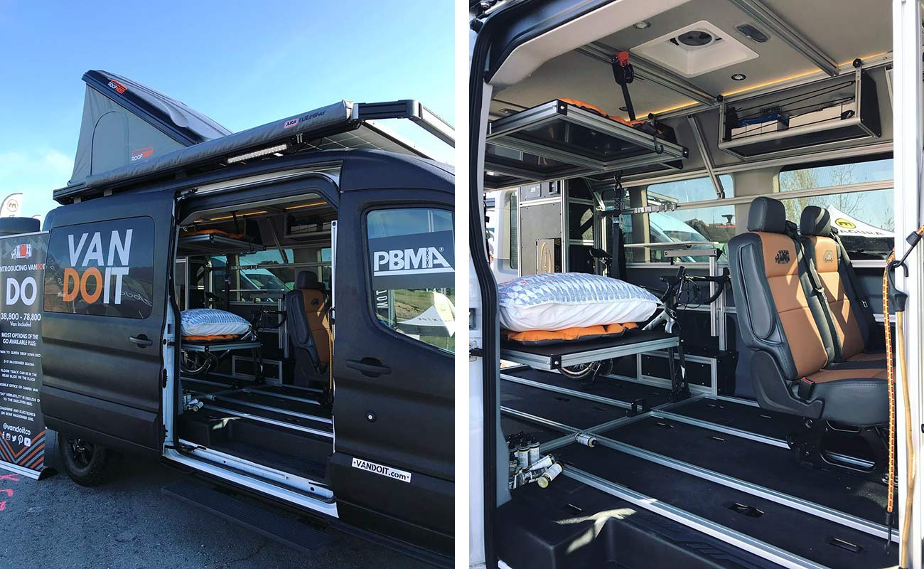 who makes custom ford transit vans to carry mountain bikes and outdoor adventure gear